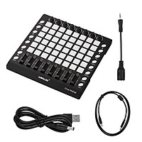 WORLDE PAD48 Portable USB MIDI Drum Pad Controller 48 RGB Backlit Pads 8 Knobs 16 Buttons 8 Sliders with USB Cable - Black