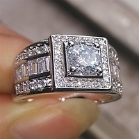 Nhẫn cưới vàng trắng 18K dành cho nam QYP40099