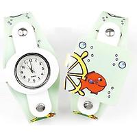 Đồng hồ thời trang trẻ em mặt hình cá dây nhựa cao cấp sắc màu PKHRTE014