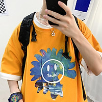 3 Color【M-3XL】 Summer New Style Fashion Trend Printed Smiley Graphic Short Sleeve T-shirt Men Breathable Unisex Half Sleeve T-shirt Oversize Student Short T-shirt Couple Wear