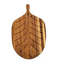 Thớt Gỗ Teak BUZEN Cao Cấp - Thớt gỗ Trang Trí Hình Xương Cá Bản Lớn 55x35x1.9cm