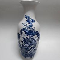 Cặp Bình hoa sứ bát tràng họa tiết cá chép, hoa sen 32cm (Giao hàng ngẫu nhiên)