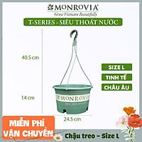 Chậu treo trồng cây MONROVIA Size L, Dòng T-series, chậu nhựa treo trang trí, trồng cây cảnh ban công, chậu trồng hoa, thiết kế tinh tế, thoát nước tốt, nhựa cao cấp PP, nhập khẩu, tiêu chuẩn Châu Âu