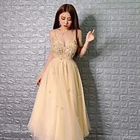 Đầm dự tiệc công chúa 2 dây kết cườm dày sang trọng TRIPBLE T DRESS - size M/L (kèm ảnh/video thật) MS74V