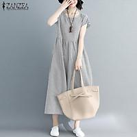 Đầm BabyDoll Dài Ngắn Tay Vải Mát Phong Cách Năng Động Trẻ Trung Hàn Quốc Dành Cho Các Nàng (Thương Hiệu ZANZEA)