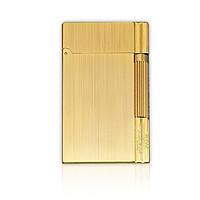 Hộp Quẹt Bật Lửa Gas Đá Super D163S Họa Tiết Hoa Văn Xước Dọc Kẻ Viền Màu Vàng