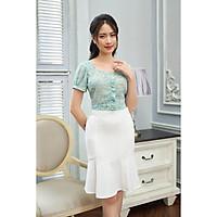 Áo kiểu nữ Tri'C Luxury kẻ họa tiết hoa Xanh S030220