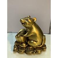 Tượng Chuột ôm thỏi vàng bằng đồng cao 12cm