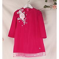 Áo dài cách tân bé gái hồng mặc tết siêu xinh