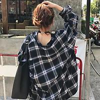 New Plaid Classic Retro Plaid Pattern Women Blouse Korean Style Loose Casual Black Lapel Long Sleeve Shirt