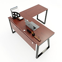 Bàn chữ L 140x140 Trapeze II Concept gỗ cao su chân sắt lắp ráp