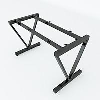 Bộ chân sắt chữ V sơn tĩnh điện màu đen 1200x580x730mm lắp ráp