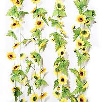 Set 2 dây hoa hướng dương 2,4m, hoa giả trang trí tường ban công, hàng rào tươi sáng tự nhiên (tặng 02 móc dán tường)