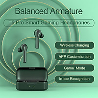 QCY T5Pro Bluetooth headset full frequency moving iron stealth ultra small binaural in-ear detection wireless charging sports running eating chicken game smart app mobile phone universal black