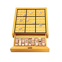 Wooden Sudoku Board Game with Drawer Wood Sudoku Puzzle Game Set Math Brain Teaser Desktop Toys