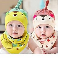 Bộ mũ kèm khăn cotton cho bé 3 tới 1 tuổi