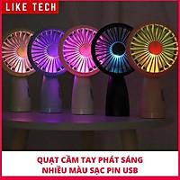 Quạt cầm tay tích điện sạc pin siêu tiện dụng có đèn led phát sáng nhiều màu