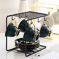 Giá để ly cà phê sáng tạo với khay gỗ Giá treo ly 6 ngăn đựng cốc  bộ ấm chén bằng sắt rèn giá để đồ thoát nước màu ngẫu nhiên