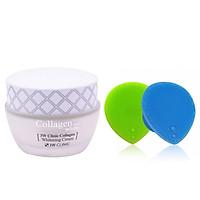 Kem Dưỡng Ẩm Trắng Da Hàn Quốc Cao Cấp Whitening Cream 3W Clinic Collagen (60ml) + Tặng Dụng Cụ Rửa và Massage Mặt Silicon Mềm Dẻo Hàn Quốc Suri Facial Cleansing Fad – Hàng Chính Hãng
