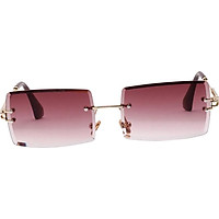Vintage Rectangle Cut Rimless Sunglasses Designer Tinted Lens Eyewear