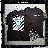 Áo thun tay lỡ form rộng YAS STREETWEAR phông unisex nam nữ, áo thun cotton100% phong cách streetstyle HÌNH IN KO TRÓC