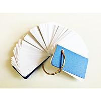 100 thẻ flashcard trắng cao cấp 4x7cm(Bo 2 góc) tặng kèm khoen inox + bìa cứng dày học ngoại ngữ