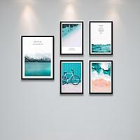 Khung Ảnh treo tường chủ đề biển Tặng Kèm bộ ảnh như hình mẫu, đinh treo tranh và sơ đồ treo - PGC224