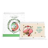 Combo lịch bàn SDstationery 2021 - Lịch ngang chữ nhật HỨA SỐNG TỐT (con trâu) và Lịch đứng vuông LIVE GREEN (sống xanh)