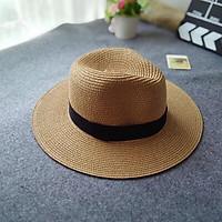 Mũ vành cao bồi nón cói tròn rộng vành đi biển nghỉ dưỡng siêu xinh dành cho nữ.