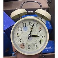 Đồng hồ báo thức để bàn phong cách cổ điển pastel hoạ tiết hoa lá có đèn 17x12cm