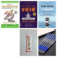 Bộ sách Thói quen cân bằng cuộc sống hiện đại:22 ngày cách mạng cơ thể + 10 phút tĩnh tâm + cơ thể 4 giờ tặng bookmark kim loại kèm bút bi