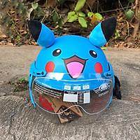 Mũ bảo hiểm trẻ em bảo vệ đầu cho bé có kính chắn bụi, chống chói hình pikachu siêu ciu xanh dương đậm