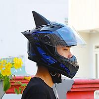 Combo Mũ Bảo Hiểm Fullface AGU Tem 14 Nhiều màu + Sừng + Đuôi Gió_ Kính chống bụi, chống nắng