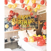 set bóng bay trang trí sinh nhật cho người yêu, vợ, chồng lãng mạn tông đỏ - vàng đồng