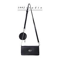 Túi xách nữ 1992 s t u d i o/ LAMMY BAG / màu đen kèm túi tròn phụ kiện, dây da phối xích