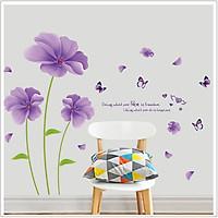 Decal dán trang trí phòng ngủ, phòng khách Hoa màu tím lãng mạn ấm cúng và thông điệp ý nghĩa (100 x 150 cm)