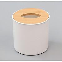 Hộp đựng khăn giấy phong cách Nhật Bản nắp gỗ basic hình trụ tròn