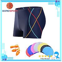 Quần bơi nam Boxer YESURE SOC Chất liệu polyester Spandex cao cấp , chống thấm , nhanh khô form Fitness thời trang (Tặng kèm nón bơi + bịt tai silicon) - Hàng Chính Hãng