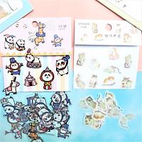 Combo 2 Bộ 32, 40 Sticker Hình Dán Mini Mèo Dễ Thương Và Gấu Trúc Làm Xiếc