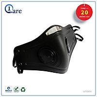 Khẩu trang nhựa thời trang màu đen huyền bí 1Care Pro, Khẩu trang nhựa đi phượt lọc bụi chống giọt bắn và tia UV 100%