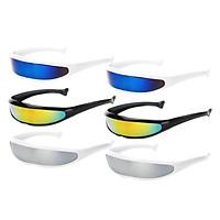 6pcs Futuristic Narrow Lens Visor Eyewear Sunglasses White Frame