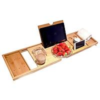 Bathtub Caddy Tray Bamboo Spa Bathtub Caddy Organizer Book Wine Tablet Holder Reading Rack Nonslip Bottom Extendable