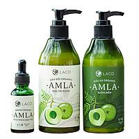 Combo bộ 3 sản phẩm dầu gội xả serum amla Laco - Ngăn ngừa rụng tóc