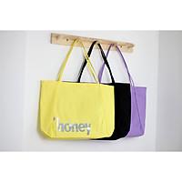Túi tote vải canvas phom đứng đựng giấy A4 in chữ HONEY thời trang COVI nhiều màu sắc T19
