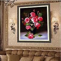 Tranh thêu chữ thập bình hoa hồng thêu kín hh0738 ( 60x80 )