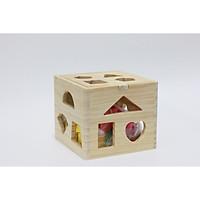 Hộp thả hình khối cơ bản vuông bằng gỗ
