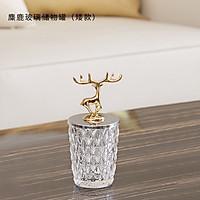 Hủ thuỷ tinh nắp hươu vàng đựng decor trang trí cao cấp  phòng ngủ bàn trang điểm phòng khách