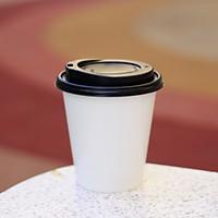 Bộ 50 cái LY GIẤY 9oz H95 260ml, Kèm nắp uống nóng đen, đựng cà phê nóng mang đi
