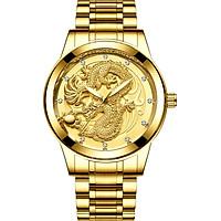 Đồng hồ nam mặt rồng vàng 3D dây kim loại bền đẹp sang trọng