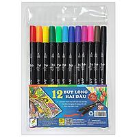 Bộ 12 Cây Bút Lông 2 Đầu
